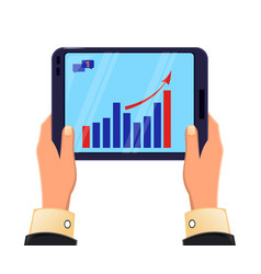 tablet in mans hands growing graph icon modern vector image