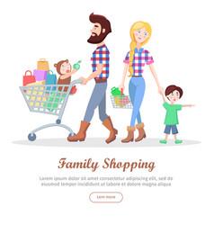 family shopping cartoon flat concept vector image vector image