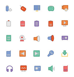 Multimedia Colored Icons 7 vector image