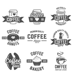 Set of badges and labels elements for coffee vector image