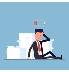 Tired businessman or manager sitting near the pile vector image vector image