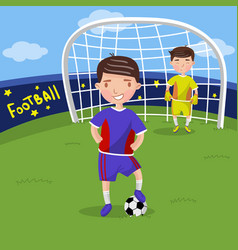 soccer players boys playing soccer on the sport vector image