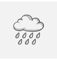 Cloud and rain sketch icon vector image vector image