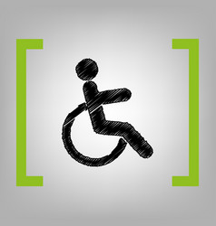 disabled sign black scribble vector image vector image
