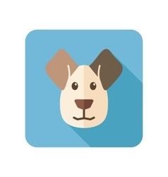 Dog flat icon with long shadow vector image
