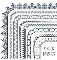 Ethnic hand drawn line border set and vector image