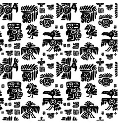 seamless maya pattern black and white ethnic vector image vector image