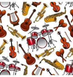 Seamless pattern of orchestra musical instruments vector image vector image