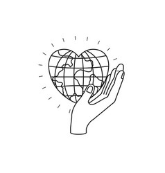 Silhouette side view of hand holding in palm a vector