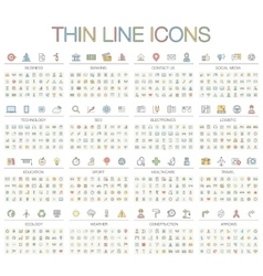 thin line color icons vector image vector image