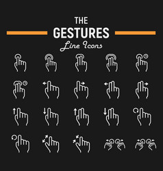 touch gesture line icon set touchscreen and hands vector image vector image