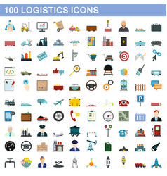 100 logistics icons set flat style vector