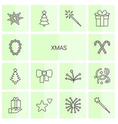 14 xmas icons vector image