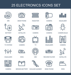 25 electronics icons vector image