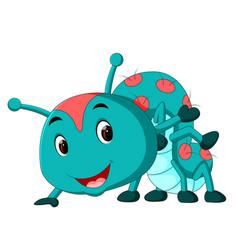A blue caterpillar cartoon vector