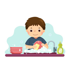 A little boy washing dishes vector