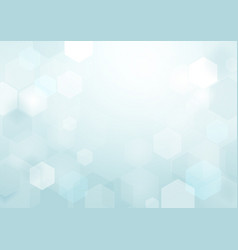 abstract bokeh hexagonal on soft blue background vector image