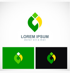 abstract shape colored eco logo vector image