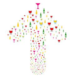 Ahead direct arrow shape with alcohol bar drinks vector