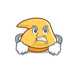 Angry fortune cookie mascot cartoon vector