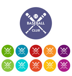 baseball club icons set color vector image