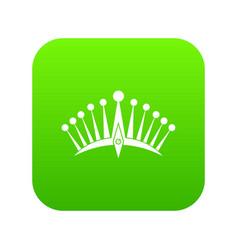 big crown icon digital green vector image