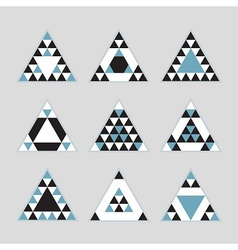 Black and blue geometric tribal triangle icons set vector
