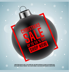black christmas ball with red frame vector image