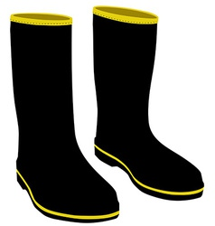 Black rubber boots vector