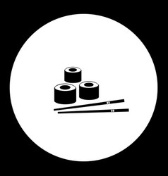 black sushi japan food simple isolated icon eps10 vector image