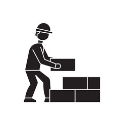 bricklayer black concept icon bricklayer vector image