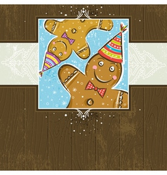 Brown wooden christmas background with Gingerbread vector