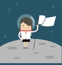 Businesswoman planting white flag on moon vector