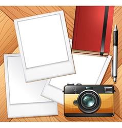 Camera and photo frames vector