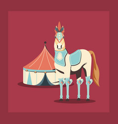 carnival circus horse and tent retro vector image