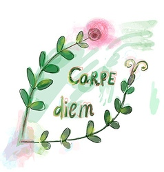 Carpe diem motovation floral prin vector
