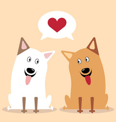 cartoon dog twosome vector image