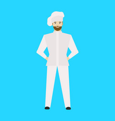 cartoon restaurant staff chef on a blue vector image