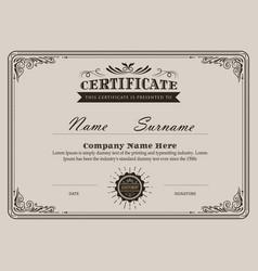 Certificate flourishes elegant vintage template vector