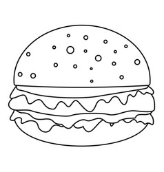 cheeseburger icon outline style vector image