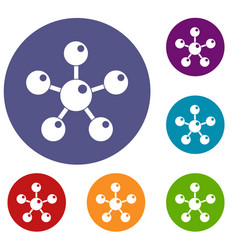 chemical and physical molecules icons set vector image