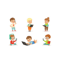 children with modern gadgets vector image