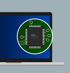 Chip processor cpu on laptop computer flat vector