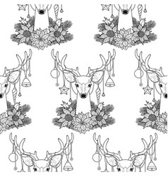 Christmas deer outline seamless pattern vector