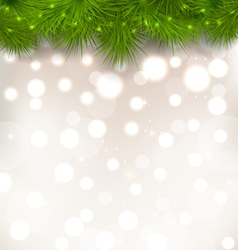 Christmas light background with realistic fir vector