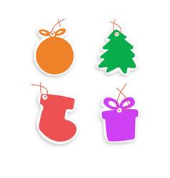 christmas tree ball gifts vector image