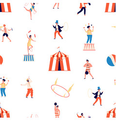 circus seamless pattern freak show vector image