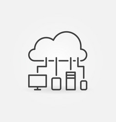 cloud with devices thin line concept icon vector image