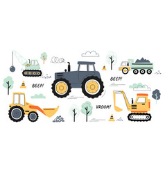 collection of machines for construction vector image