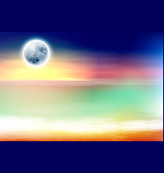 Colorful beach with full moon at night vector